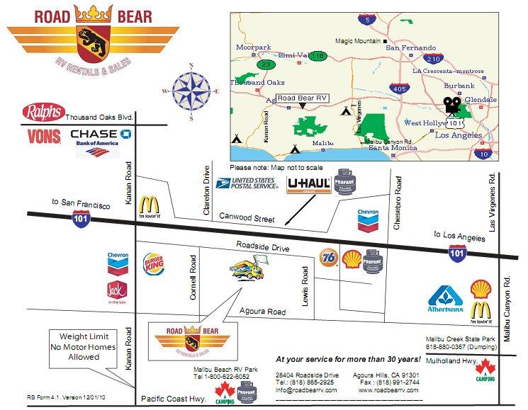 Lax Car Rental Map Los Angeles Depot Information   Road Bear RV Lax Car Rental Map